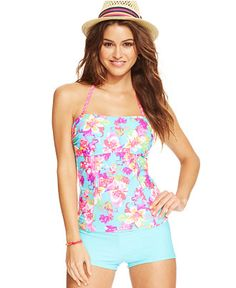 Hula Honey Floral-Print Tankini Top & Boyshort Swim Bottom - Juniors Swimwear - Macy's