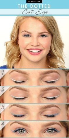 The subtle-yet-bright dots of this cat eye look have stolen our hearts! n fact, with the right color palette, this bold eyeliner design can be great any time of year! Inspired by the bright blues of sea and sky, beauty expert Elyse Reneau shows us how to get the dotted cat eye at home with easy DIY makeup tutorial.