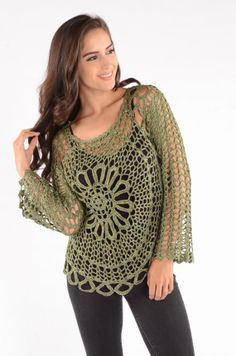 Crochet top tunic green over  swimsuit or wear as by GIRLS2HAVEFUN, $35.00