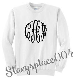 monogrammed sweater, mongrammed sweat shirt, monogrammed shirt, personalized sweater, white sweater