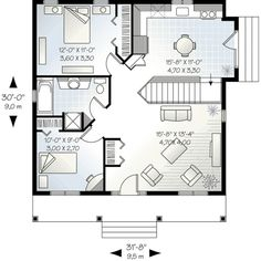Cottage Style House Plan - 2 Beds 1 Baths 910 Sq/Ft Plan #23-512 Floor Plan - Main Floor Plan - Houseplans.com
