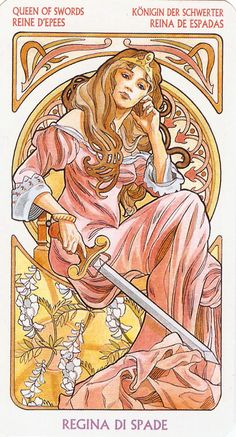 Queen of Swords - The Art Nouveau Tarot - connect your intellect to your feelings