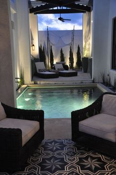 Small square pool with a waterfall....yes please.