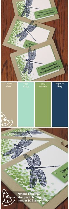 Clean and simple masculine card by Natalie Lapakko. Features Dragonfly Dreams stamps from Stampin' Up! Color inspiration: Crumb Cake, Pool Party, Wild Wasabi, Night of Navy.