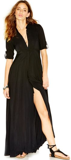 Free People After The Storm Three-Quarter-Sleeve Maxi Shirt-Dress