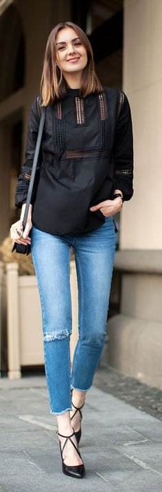 denim and black - simple style