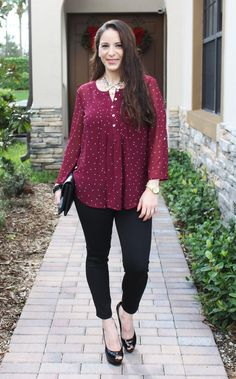 Stitch Fix Review December 2015 - DANIEL RAINN BILSON DOT PRINT PLEAT DETAIL BLOUSE paired with LIVERPOOL JASON SCUBA SKINNY PANT