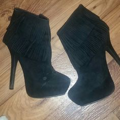 Black Suede Fringe Boots Sexy suede fringe boots! Look great with fitted jeans. Right foot shoe has some spots on it. (shown in pic)  I never tried to get them off. Heel is 4.5-5in Anne Michelle Shoes