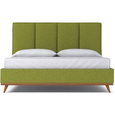 Apt2B Carter Green Apple Upholstered Bed (61735 TWD) ❤ liked on Polyvore featuring home, furniture, beds, king bed, upholstered king bed, king size platform bed, fabric bed and upholstered bed