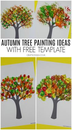 Four fantastic and easy autumn tree painting ideas for kids using our free tree template. Make beautiful fall crafts you'll love to display.