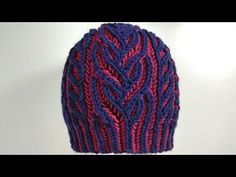 Interweave hat, two-color brioche stitch with italian/tubular cast-on - YouTube