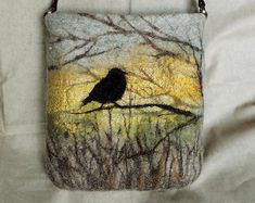 "Material: Wool This bag is hand made using wet felting technique that creates a ""watercolor"" effect. Wet Felting, Needle Felting, Needle Felted Animals, Felt Animals, Country Fall Decor, Llama Decor, Rustic Halloween, Felt Pillow, Felt Pictures"