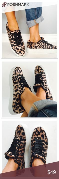 NWOB Report velvet leopard sneakers So cute and comfortable! Brand new without box. 1.5 in platform. True to size. What a fun pair of shoes ! Satin  laces! Report Shoes Sneakers