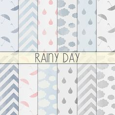 Rainy day  Printable background Instant Download by babushkadesign