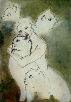 Cats by Leonor Fini (1907-1996)