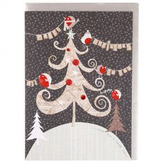 Robins in tree Christmas card