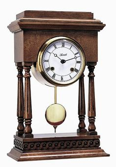 Reproduction of an antique mantel clock. Movement mounted into a brass capsule with glass bezel. Antique Mantle Clock, Mantel Clocks, Wood Clocks, Antique Clocks, Brown Clocks, Tide Clock, Westminster, Carriage Clocks, Grandfather Clock