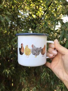 Chickens Camp Mug / Camp Mug / Chicken Mug / Farm Mug / Homestead Mug / Camping Mug / Chicken Gifts / Camping / Enamel Mug Backyard Chickens - - Winter Drinks, Camping Gifts, Cute Mugs, Cute Coffee Mugs, Chickens Backyard, Mug Designs, Decoration, Coffee Cups, Tea Pots
