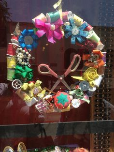 A wreath for someone who loves to sew. It was on display in a fabric store.