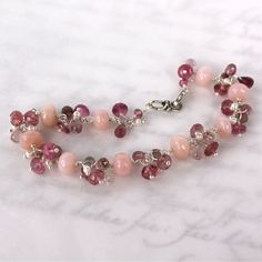 Pink Peruvian Opal Bracelet with Tourmaline and Pearls by mommyto4