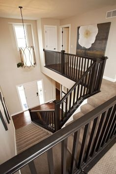 39 Inspiring Painted Stairs Ideas - Home Decorating Inspiration Wood Handrail, Stair Banister, Handrail Ideas, Black Stair Railing, Banisters, Stair Rods, Painted Staircases, Painted Stairs, Bannister Ideas Painted