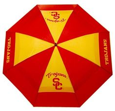 """NCAA Southern California Team Golf Umbrella by Team Golf. $25.00. Keep dry while showing off your school spirit with this officially licensed NCAA® team umbrella from Team Golf. The 62"""" umbrella boasts a double canopy design and an auto-open mechanism. The team logo boldly adorns the umbrella and the included sheath."""