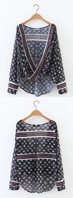 Chiffon top is a summer fashion essential which can make you feel cozy. Unique geometric print make you attract more attention.