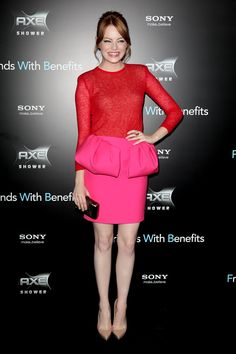 Emma Stone in Red and Pink Combo.