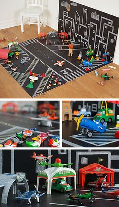 Create a chalk airport. Grab some black Masonite boards from your local hardware store, throw in colored chalk and watch imaginations soar.
