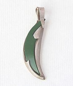 Designer green pendant  EMBRACED  silver jewelry  by JorArtJewelry