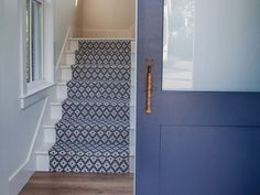 Blue stair runner and door painted BM Andes Summit. Board and batten coastal cottage in Palmetto Bluff with modern farmhouse interior design by Lisa Furey. Coastal Cottage Decorating, Cottage Design, Farmhouse Interior Design, Modern Farmhouse Interior Design, Modern Farmhouse Interiors, Cottage Interiors, Coastal Cottage, House, Great Room Paint Colors