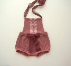 ********* New addition in my collection ******** Darling 6-12 months short romper made from vintage dark pink jersey fabric with the same color sparkle