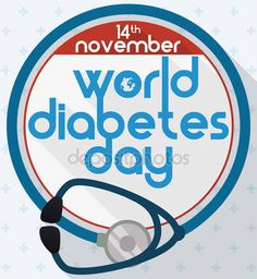 Stethoscope like Blue Circle to Commemorate World Diabetes Day