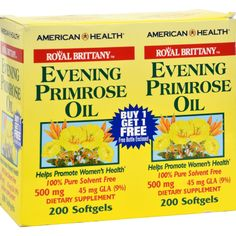 American Health Royal Brittany Evening Primrose Oil Twin Pack Description: Helps Promote Women's Health-- Pure Solvent Free-- 45 mg GLA Buy 1 get 1 Evening Primrose Uses, Primrose Oil, Fiber Supplements, Stomach Ulcers, Natural Cures, American, Health Tips, Women's Health, Shopping