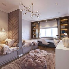 Love this idea for a shared room! By Love this idea for a shared room! Interior, Home, Bedroom Design, Girl Room, Kids Shared Bedroom, Interior Design, Kids Interior Design, Bedroom, Dream Rooms