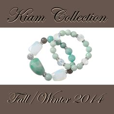 Feel an ocean breeze from #Polynesia #stretch #bracelets, set of 2 #Kiam #liasophia #genuine #calcite #chalcedony #feldspar #gypsum #grayagate Fall 2014 Mint Jewelry, Lia Sophia, Gypsum, Stretch Bracelets, Breeze, Stretches, Red Carpet, Ocean, Bridesmaid