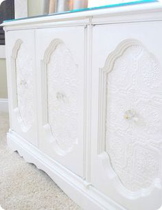 Cream Cabinet Makeover Project Paint + textured wallpaper of the same color = lovely refurbished Refurbished Furniture, Upcycled Furniture, Furniture Projects, Furniture Makeover, Painted Furniture, Diy Furniture, Furniture Refinishing, Refurbished Cabinets, Furniture Repair