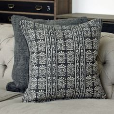 Assam Black Block Print Cushion