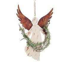 Foam angel with foam wings made to look like angel is wood and wings
