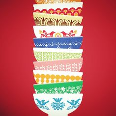 Vintage pyrex designs. Art print. Stack of bowls. Retro.