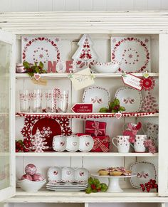Red and white country cottage...