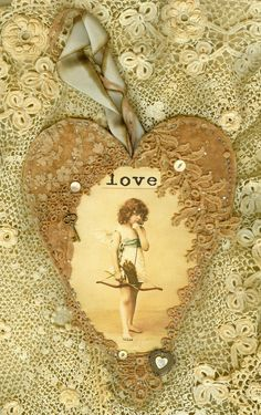 Sweet Valentine Love Cupid & Bow Vintage Lace Heart