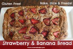 Strawberry & Banana Bread Gluten Free!  Lunchbox ready! Glutino gluten free flour works the best in these!