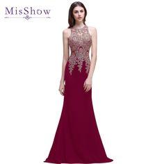 acquistare 2018 Oro Appliques di Cristallo Lungo Sexy Vestiti Da Sera Nero  Senza Maniche Sirena Da Sera Party Dress Abiti robe de soiree 54b270d7ef5