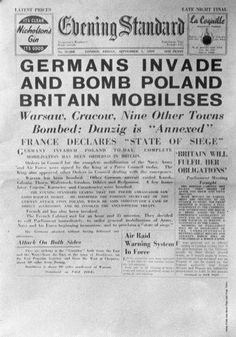 The front page of London's Evening Standard newspaper on 1st September, 1939, announcing the German invasion of Poland at the start of World War II.