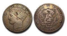 "Venezuela. 5 Reales de 1858 ""Bamba""."