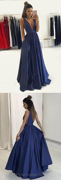 Navy Prom Dresses 2018, A-line Prom Dresses V-neck, Satin Long Prom Dresses Sexy