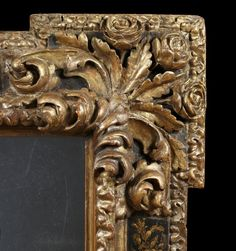 Detail A RARE BAROQUE GILTWOOD AND BLACK LACQUER SECTIONAL MIRROR Probably Markina Xemein, Northern Spain. Late Seventeenth/ Early Eighteenth Century. Measurements: Height: 63″