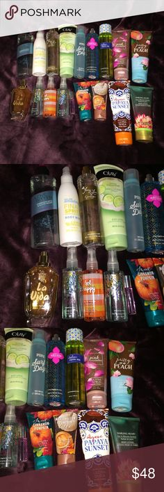 Lot of perfume/ lotion Lot of bath and body works products, aerie, Victoria's Secret and some other random brands. Almost all of these items are new , Victoria's Secret love bitten is half empty, fancy love has a little use , pink surf days is half empty, pretty as a peach is slightly used and la vida is lightly used. Aerie whoa is slightly used. All of the rest are not used. Would like to sell all but can be separated if asked. This price is the price for all items ! PINK Victoria's Secret…