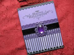 Gothic Halloween Greeting Card - Purple & Black Velvet Witches Brooch. $7.50, via Etsy.